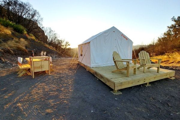 California Glamping at The Mystic Mountain Petrified Camp