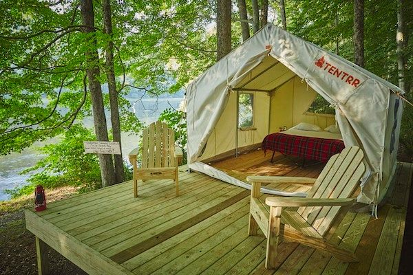 Glamping in New York at The River's Edge Sunrise