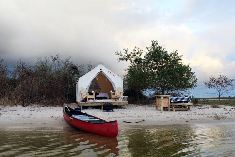 Tentrr campsite on the beach at Fontainebleau State Park